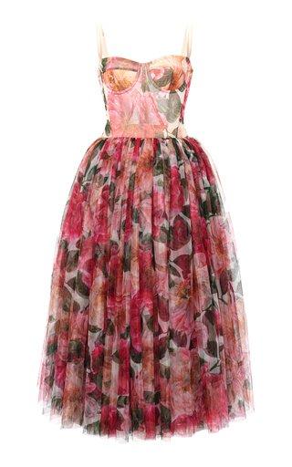 Camellia-Print Tulle Bustier Midi Dress