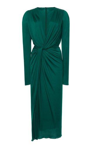 Draped Jersey Midi Dress