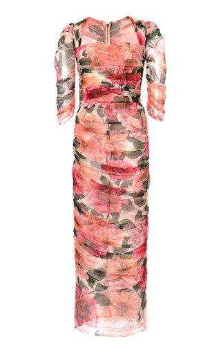 Ruched Camellia-Print Cotton Midi Dress