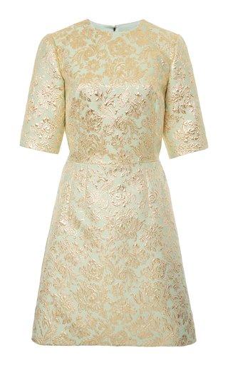 Metallic Floral Brocade Mini Dress