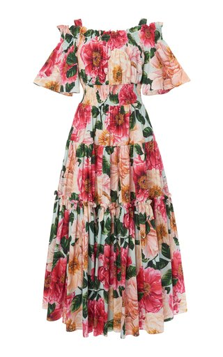 Tiered Camellia-Print Cotton Off-The-Shoulder Midi Dress