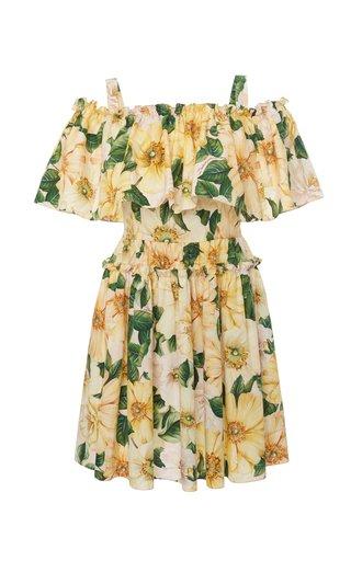 Camellia-Print Cotton Off-The-Shoulder Mini Dress