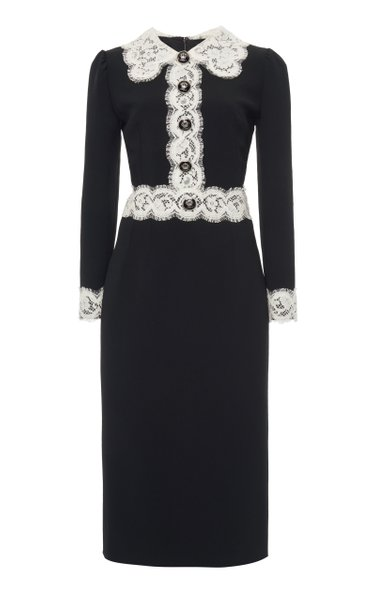 Nero Lace-Trimmed Cady Dress