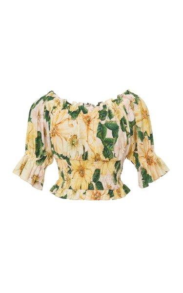 Camellia-Print Cotton Off-The-Shoulder Crop Top