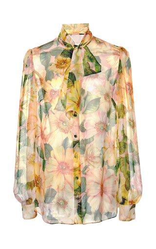 Camellia-Print Silk Tie-Neck Top