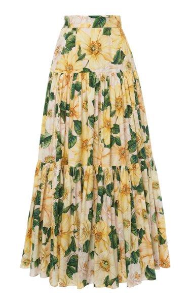 Camellia-Print Cotton Tiered Maxi Skirt