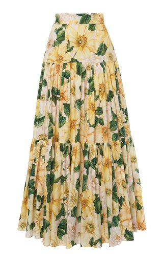Camellia-Print Cotton Tiered Maxi Skirt