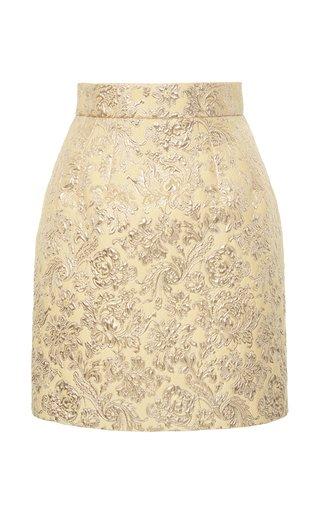 Metallic Floral Brocade Mini Skirt