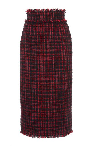 Fringe-Trimmed Tweed Pencil Skirt