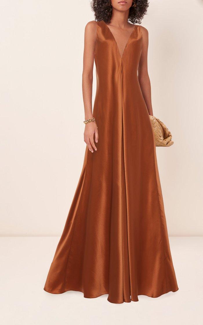 Silk-Satin Maxi Dress