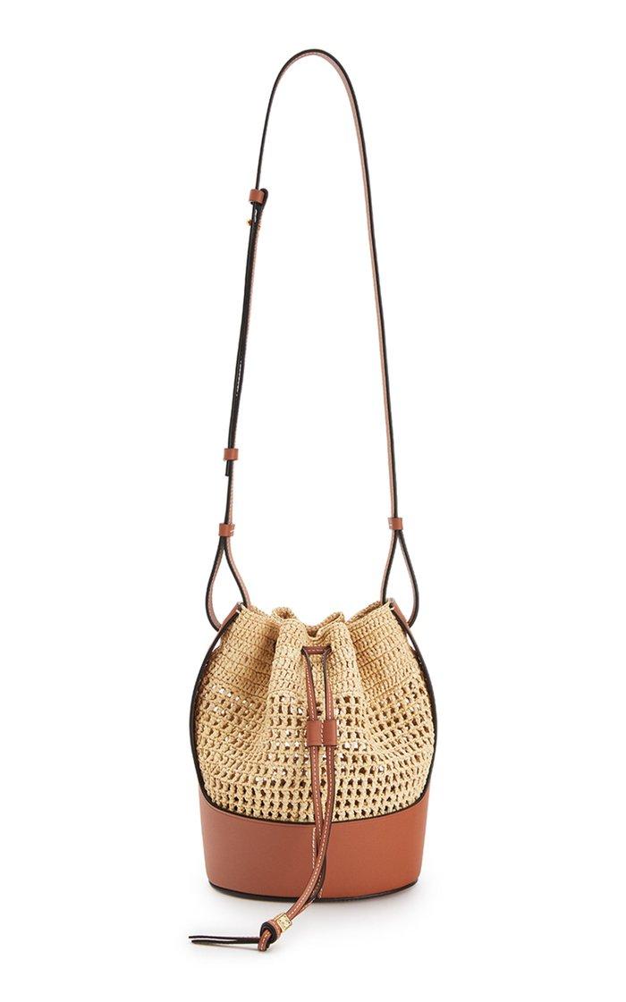 Small Raffia and Calfskin Balloon Bag