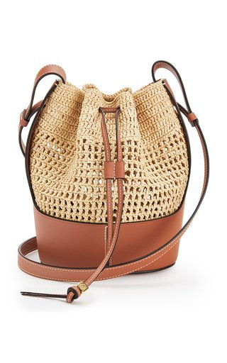 Small Raffia and Calfskin Balloon Bag