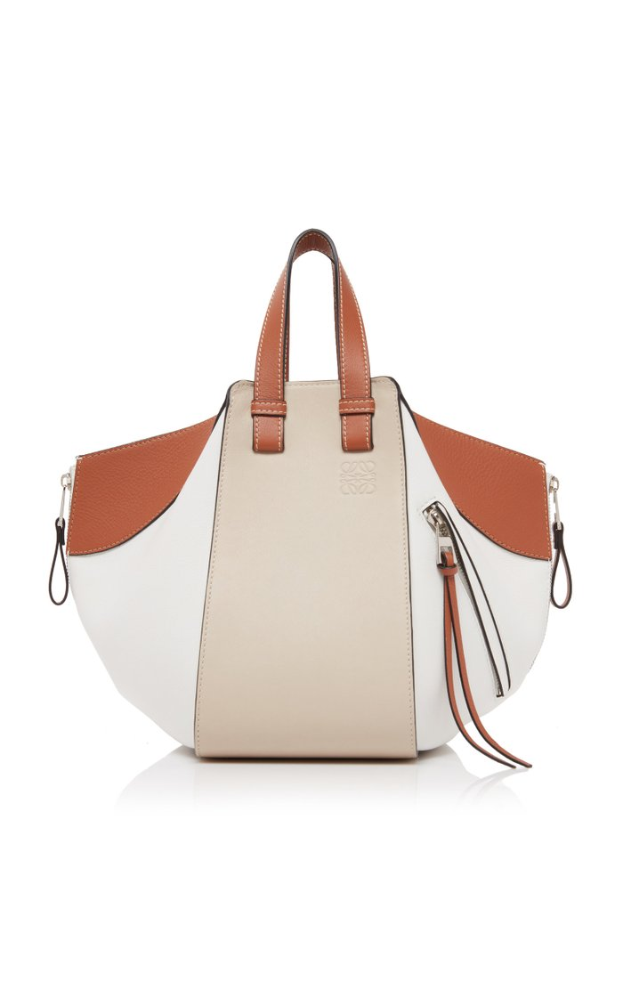 Small Hammock Color-Block Leather Bag