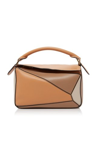 Puzzle Color-Block Leather Top Handle Bag