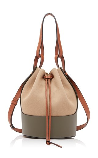 Canvas and Calfskin Balloon Bag