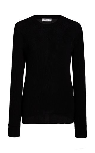 Lace Stretch-Cotton Sweater
