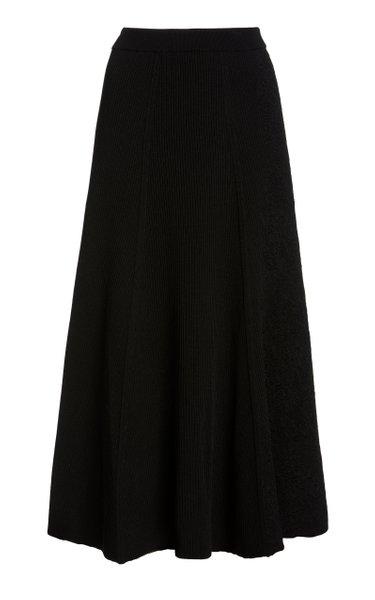 Ribbed Knit Cotton-Blend Midi Skirt