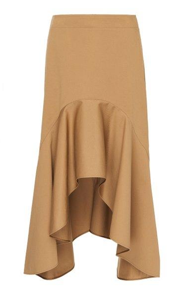 Asymmetric Stretch-Cotton Skirt
