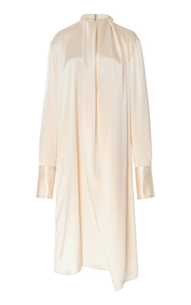 Gathered Tie-Detailed Satin Midi Dress