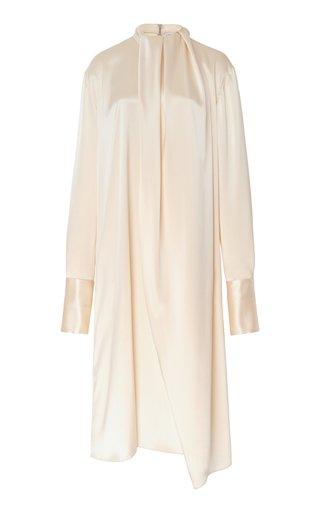 Gathered Tie-Detailed Satin Midi Dress
