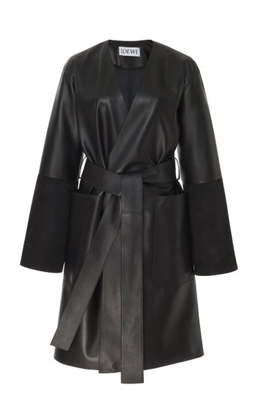 Leather Belted Coat