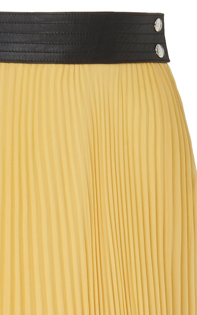 Leather-Trim Pleated Jersey-Silk Midi Skirt