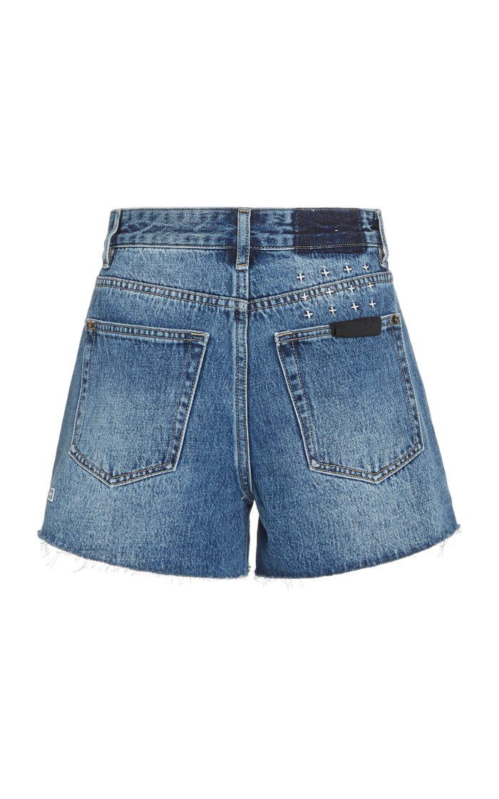 Rise N Hi Frayed Denim Shorts