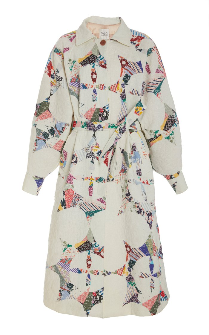 Paloma Patchwork-Detail Belted Cotton Coat