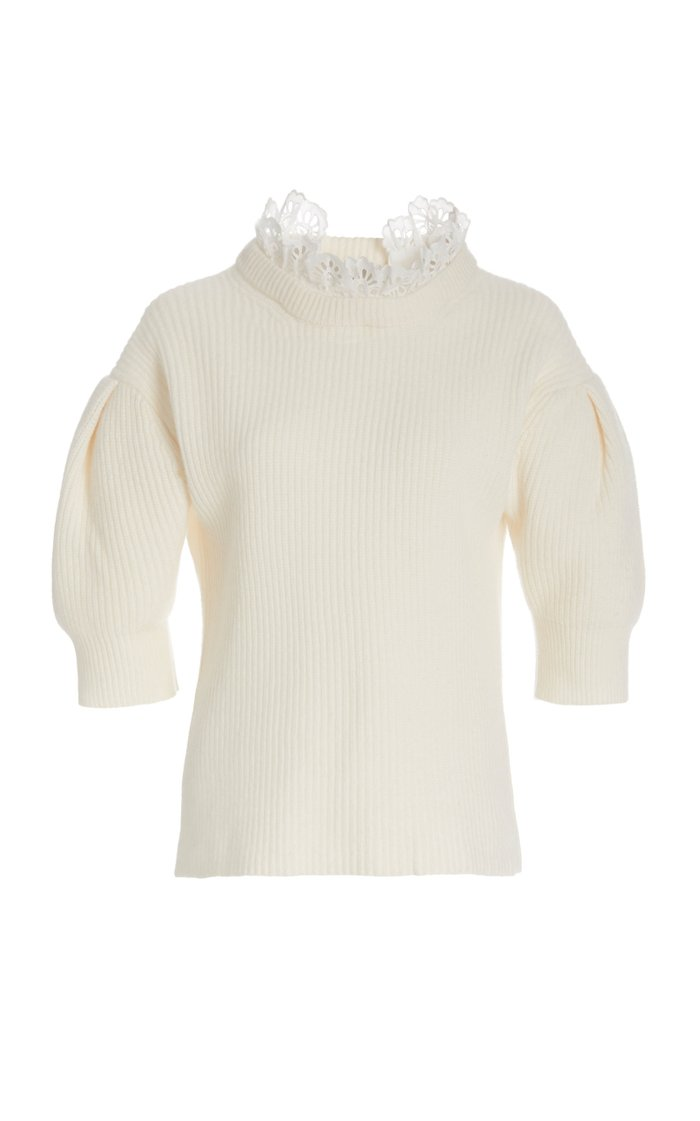 Nadene Puff-Sleeve Wool and Cotton-Blend Sweater