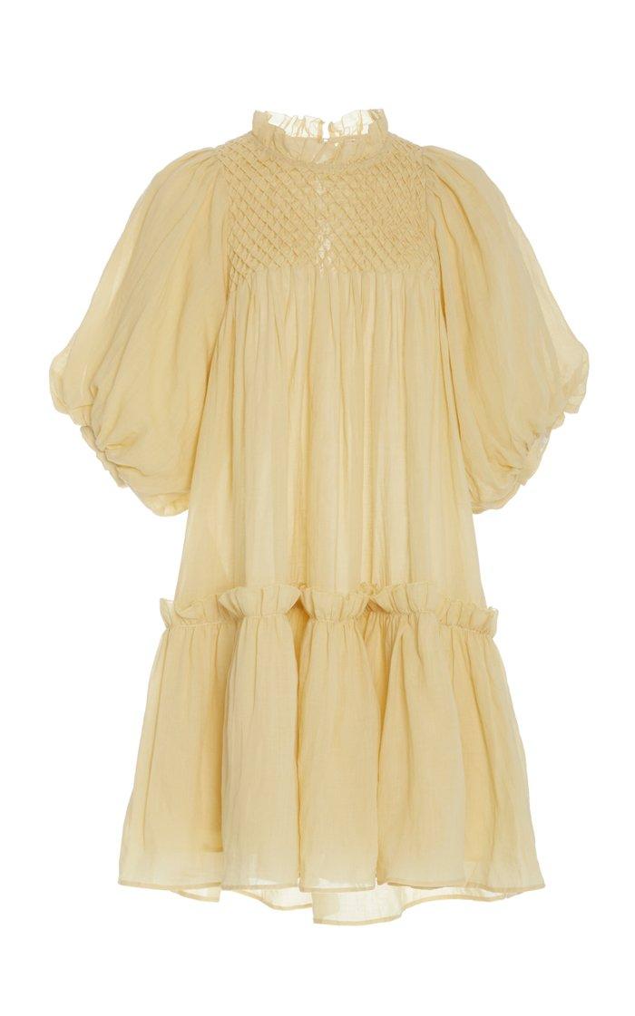 Geneva Ruched Cotton-Voile Dress