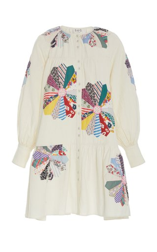 Paloma Patchwork Floral-Embroidered Cotton Dress