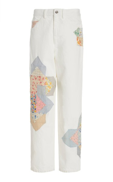Paloma Patchwork Rigid High-Rise Straight-Leg Jean