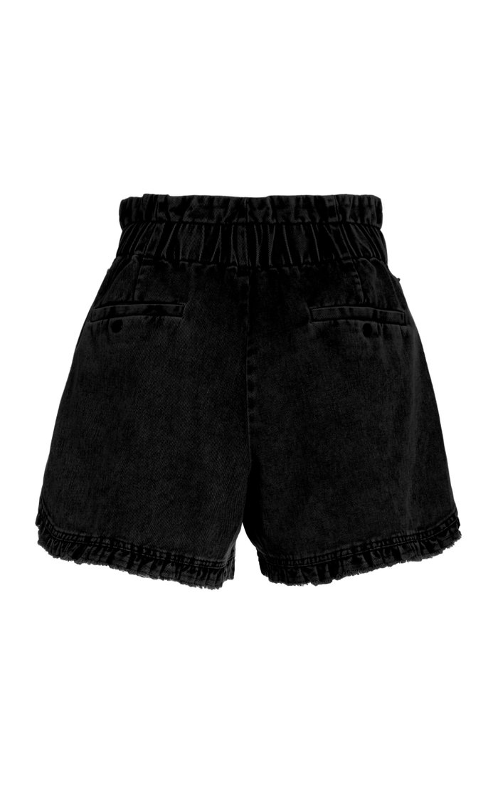 Idun Ruffled Denim Mini Shorts