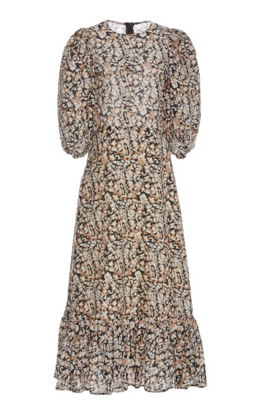 Borealis Printed Cotton and Silk-Blend Midi Dress