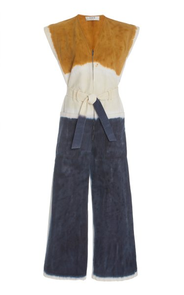 Tandi Belted Tie-Dye Cotton-Twill Jumpsuit