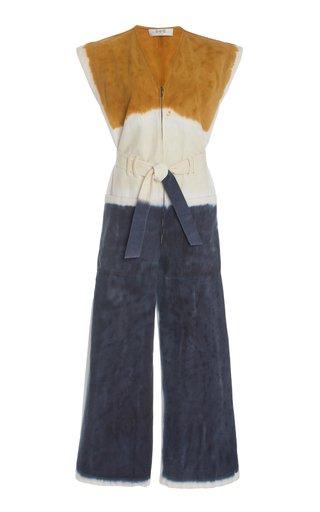 Tandi Belted Tie-Dye Cotton-Twill Jumpsuit