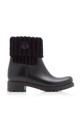 Ginette Knit-Trimmed Leather Boots