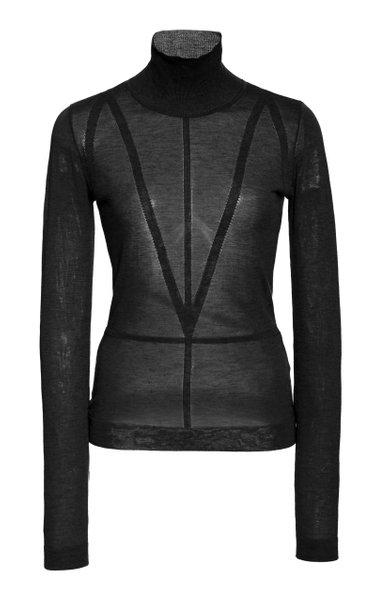 Reiko Sheer Knit Turtleneck Sweater