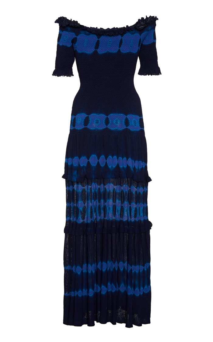 Ayaka Smocked Tie-Dyed Knit Off-The-Shoulder Dress