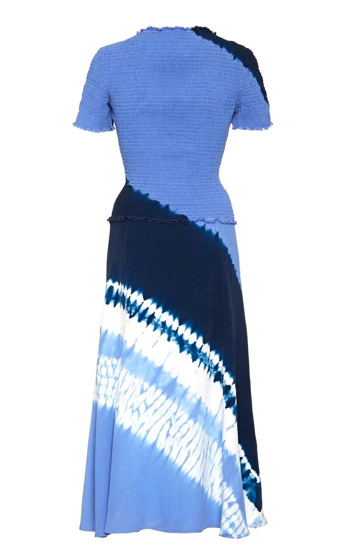 Ayumi Smocked Tie-Dyed Silk Dress