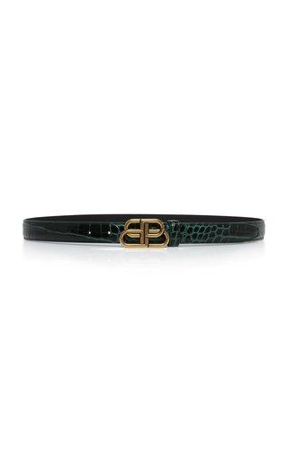 BB Croc-Effect Leather Belt