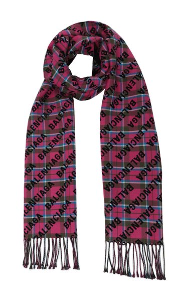Printed Checked Wool Scarf