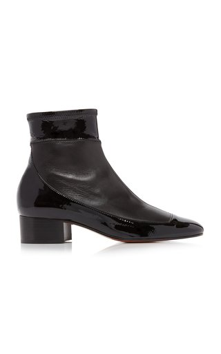 Patent Leather-Paneled Ankle Boots