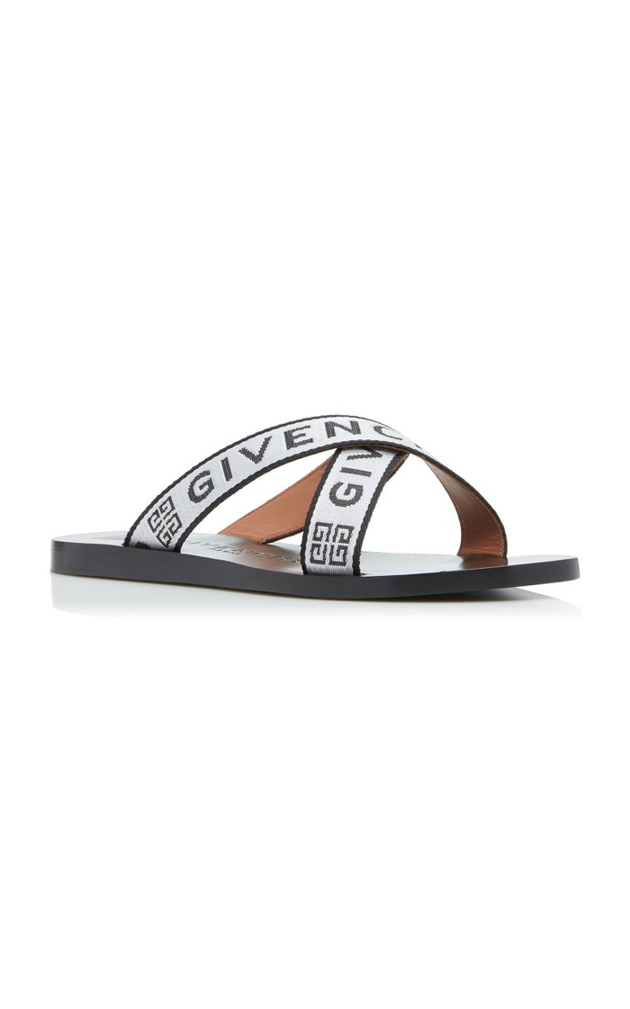Grosgrain And Leather Slides