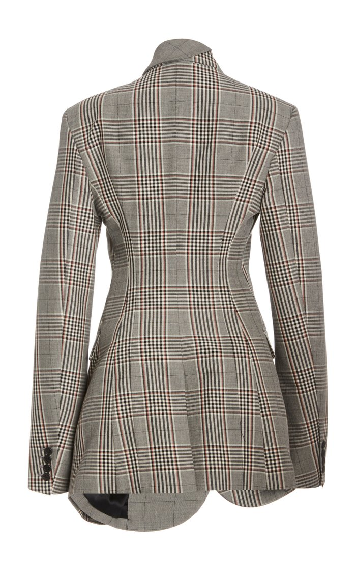 Multi Plaid Double Layer Wool-Blend Jacket