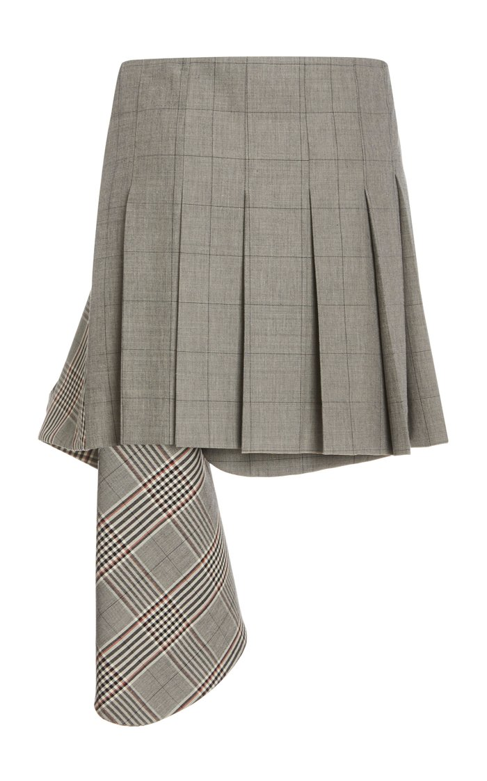 Dual Plaid Cascade Wool-Blend Mini Skirt