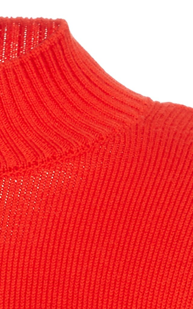 Ribbed Cowl Back Wool Sweater