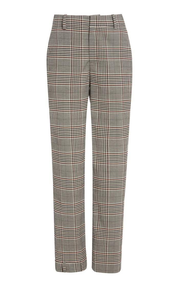 Plaid Upside Down Skinny Leg Pants