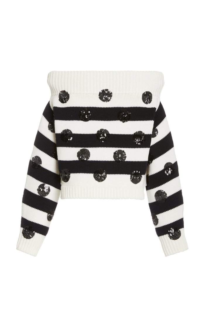 Dotted Stripe Off The Shoulder Knit Top