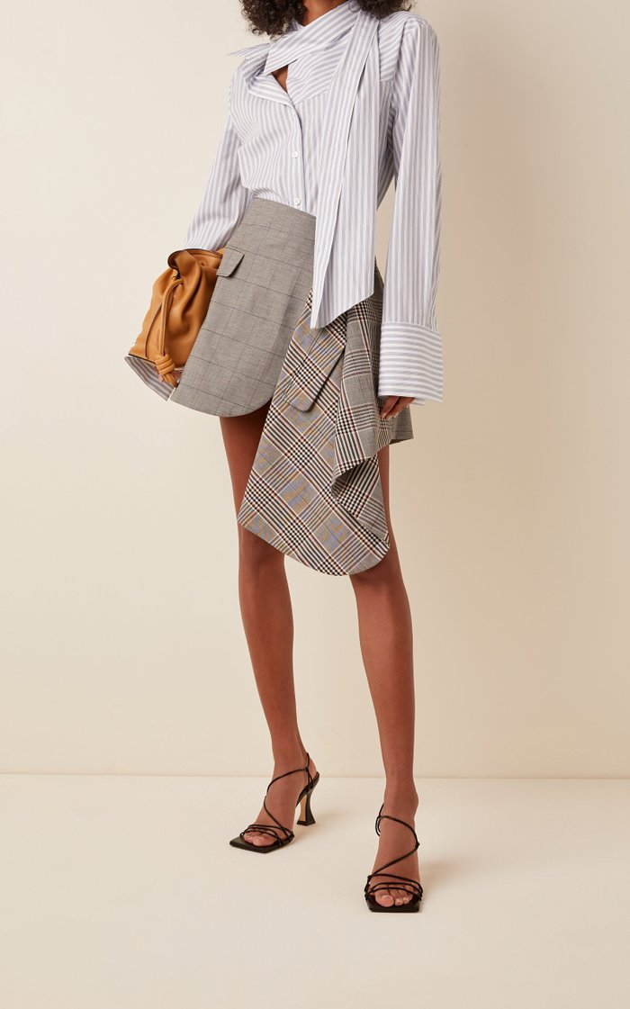 Striped Cotton Twisted Scarf Shirt